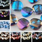 40pc 12mm Faceted Glass Crystal Colorized Charms Tile Twist Spacer Finding Bead