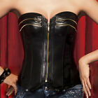 HOT Fashion Bustiers Burlesque PU Leather Zipper Basque Corset