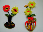 FLOWER / YELLOW DAISY IN VASE  EMBROIDERED IRON ON APPLIQUE / PATCH