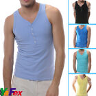 Unique Design Mens Sexy Button Front Vest Tank Top Sleeveless T Shirt Fitted Top