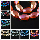 Charms Beautiful Faceted Glass Crystal Findings Long Oval Spacer Bead 22x13mm