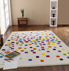 SMALL - LARGE THICK MODERN IVORY MULTI-COLOURED BRIGHT SPACEDUST DESIGNER RUG