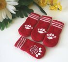 USA SELLER Non Slip Grip Dog Cat Socks Skid-Free RED for Small Breed S, M, L
