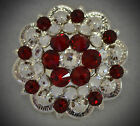 Crystal Berry Concho ~ Handcrafted with Red and Clear Swarovski Elements