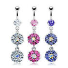 Double Flower Prong Set CZ Gem Paved Dangle Belly Ring Navel Clear, Pink, Purple