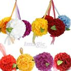 New 5PCS Elegant Silk Rose Flowers Kissing Ball Bouquet Pew Bows Wedding Decor