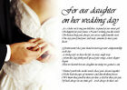Personalised Poem Poetry for Bride Daughter from Parents Wedding Day LAMINATED