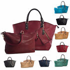 New Designer Leather Womens Tote Shopper 3 in 1 Shoulder Handbag and Make up Bag