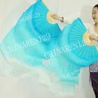 +BAG HAND MADE PAIRS 1.5M BELLY DANCE 100% SILK BAMBOO FAN VEILS MULTICOLOR