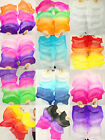 +BAG HAND MADE PAIRS 15M BELLY DANCE 100 SILK BAMBOO FAN VEILS MULTICOLOR