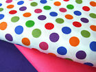 PURE COTTON fq or meter bold RED white SPOTS STRIPES for craft patchwork bunting