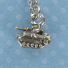 Military Tank Pewter Charm on Plated Cable Chain Army War Marines