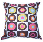 AL09a Orange Yellow Brown Square Circle Cotton Canvas Cushion Cover/Pillow Case