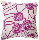 UF13a Fuschia Rose on Beige Velvet Style Cushion Cover/Pillow Case *Custom Size*