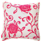 UF85a Fuschia Pink Rose Beige Velvet Style Cushion Cover/Pillow Case Custom Size