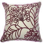 UF171a Dark Purple Leaf Beige Velvet Style Cushion Cover/Pillow Case*Custom Size