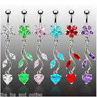 Flower Vine Heart CZ Gems Belly Ring Navel Clear, Green, Pink, Red, Purple, Aqua