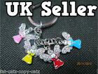 4PIECE ANGELIC ANGELS WINGS DIAMONTE ENAMEL KEYRING HANDBAG CHARM GIFT UK SELLER