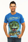 Ed Hardy Men Brand new FOILED TEE BLUE Tiger logo, by Christian Audigier