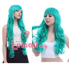 Japanese Emerald Dark Turquoise Long Wavy Hair Full Cosplay Party Wigs CW182