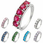 Lady Gift Garnet 18k White Gold Plated Cocktail Fashion Jewelry Ring Size 6 7 8