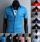 New Mens Premium Casual modern stylish solid Short Sleeve shirt_(12 Colours)