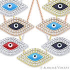 Evil Eye Glass Charm Pendant Turkish Nazar Greek Hamsa Sterling Silver Necklace