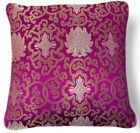 Bf028a Olive Gold Light Gold Fuschia Pink Aster Rayon Brocade Cushion Cover Size