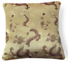 BL117a Brown Dragon on Gold Rayon Brocade Cushion Cover/Pillow Case*Custom Size