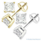 2.20ct Square Princess Cut Moissanite 14k Gold Stud Earrings Charles and Colvard