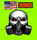 CHROME SKULL W GAS MASK DECAL-ONLY SELLER W THIS DESIGN!-CAR MOTORCYCLE TRUCK