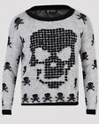 GREY & BLACK FUZZY SKULL SKELETON PRINT SUPER SOFT  JUMPER S/M & M/L