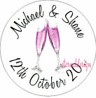 PERSONALISED WEDDING DAY PINK CHAMPAGNE STICKER SEAL GIFT FAVOUR INVITES WDSC5