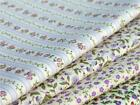 LILAC purple FLORAL STRIPE daisy flower pure cotton metre CRAFT QUILTING BUNTING