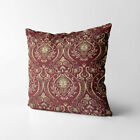 Wk221a Gold on Red Damask Chenille Flower Throw Cushion Cover/Pillow Case *Size