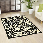 MEDIUM LARGE EXTRA LARGE MODERN BLACK CREAM IVORY SWIRL FLORAL DAMASK AREA RUG