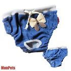 Lovely Bow JEAN Pet Dog Diapers Female Dog Sanitary Panty Reusable XS S M L NEW