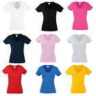 New Fruit of the Loom Womens Lady Fit Valueweight V Neck Tshirt 9 Colours XS-XXL