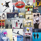Banksy Graffiti Canvas Print Wall Art Premium Great Hits Collage Picture Framed