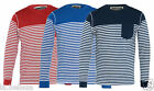 New Mens Casual Soul Star Designer Stripe Print Crew Neck Top With Front Pocket