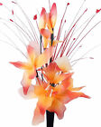 Orange & Red Artificial Flowers - Nylon Flower Arrangement in Vase With Grass