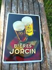 PLAQUE EMAILLEE PUBLICITAIRE MARQUE BIERES JORCIN GARANTI EMAIL FAB.FRANCE NEUF