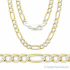 Solid 925 Sterling Silver and 14k Yellow Gold Figaro 4.3mm Men's Necklace Italy