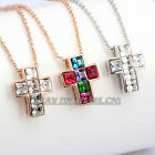 A1-P432  Fashion Cross Necklace Pendant 18K GP use Swarovski Crystal