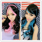 55cm long duplicity two-tone-tipped zipper wavy cos Mulit-listing hair wig ZY24