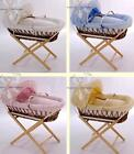 BABY MOSES BASKET VELOUR SOFT DRESSING & WICKER BASKET WITH MATTRESS & STAND NEW