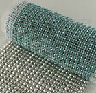 Aquamarine Diamante Crystal Diamond Rhinestone Mesh Wrap Ribbon Craft