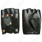 New Fingerless Rivet Punk Motorcycle Driving Glove Leather Cowhide Mitten