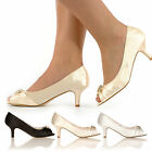 NEW WEDDING BRIDAL PROM SHOES LADIES MID HEEL EVENING SANDALS SIZE 3-8