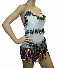 New Chiffon Halter Belly Dance Silver or Gold Coin Pallet Bra Top Multi-Colored